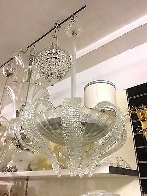 Vintage Murano Glass Italian  Chandelier Handblown Murano Glass