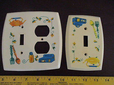 2 Vintage Kitchen Motif Plastic Light Switch Plate & Light Switch andPlug Cover