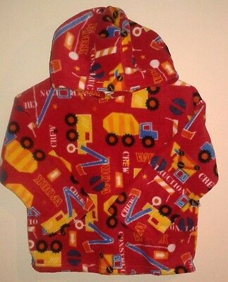 Childrens Fleece Hoodie Tops  Red Diggers