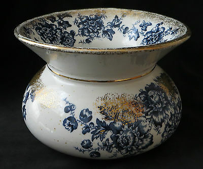 Antique Blue Transfer and Gold Haddocks Royal Porcelain Spittoon