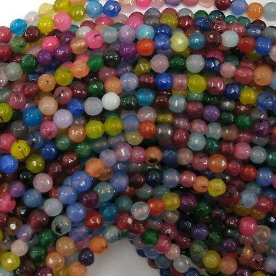 "4mm faceted jade round beads 15"" strand multicolor S1"