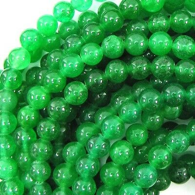 "6mm green jade round beads 15.5"" strand"