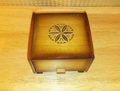 Vintage Thorens Wooden Music Box Cigarette Dispenser