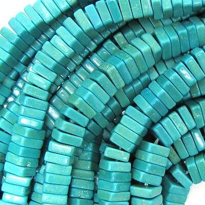 """6mm blue turquoise square beads 15.5"""" strand"""