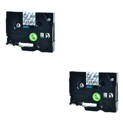 2PK 1/2inch 12mm black on clear TZ-131 label tape for Brother P-touch TZe-131