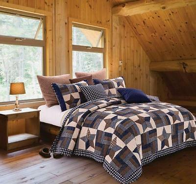 NAVY Star Patchwork Primitive Look Quilt Set QUEEN/FULL Size Country Charm