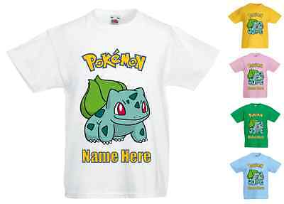 Childrens Kids Personalised Printed T-Shirt Various Colours - Pokemon Bulbasaur