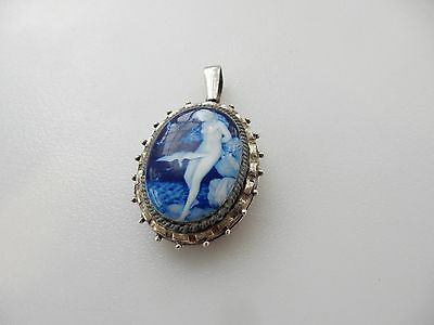 Antique Sterling Silver Pendant Locket with Enamel Lady & Dove Hallmarked