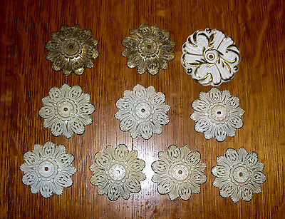 (( #4 )) (( 10 Die Cast Fancy Knob Rosettes Flower Shape Design ))