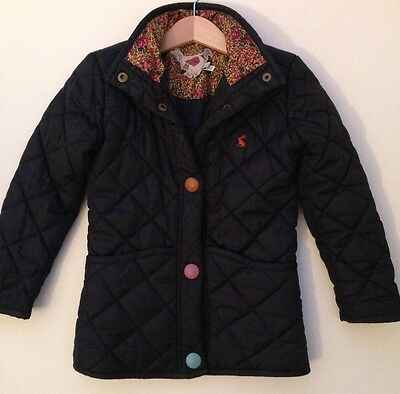 Joules Girls Navy Blue Quilted Coat Jacket (3-4 Years)