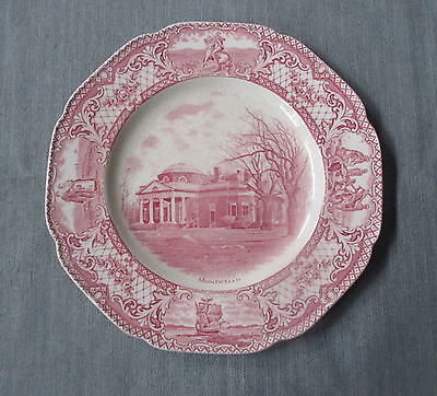 """Crown Ducal COLONIAL TIMES 10.5"""" Dinner Plate, Monticello, Pink, Scalloped"""