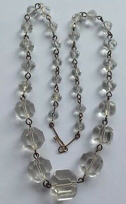 Edwardian Necklace, faceted Crystal Rolled gold Wire