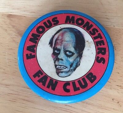Vintage 1973 Famous Monster Of Filmland Magazine Fan Club Button Horror Pin