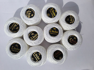10 x White Anchor Pearl Crochet Cotton Embroidery Thread Balls Pack Size no.8