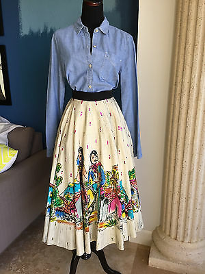 VINTAGE 1950 Mexican Tourist Skirt full circle Hand Painted adjustable waist S-M