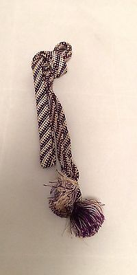 Vintage authentic Japanese obijime cord for kimono, white & purple, silk (B632)