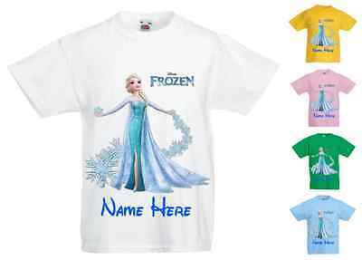 Childrens Kids Personalised Printed T-Shirt Various Colours - Disney Frozen Elsa
