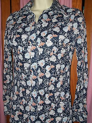Size Small Vintage Navy Floral Print Button Up Shirt retro
