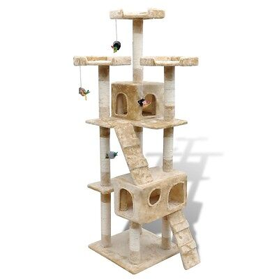 New Cat Tree Scratcher Cat Scratching Post Cat Toy Tower Activity 170 cm Beige
