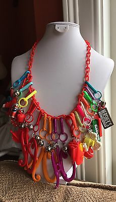Vintage New 80's Plastic Bell Charm Necklace Retro Clip On 1980 Fun 21 Ho Ho Ho
