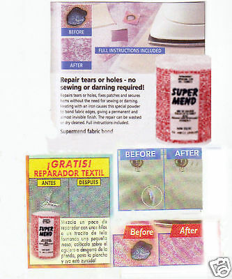 Fabric bonding powder. Original Supermend as seen on TV and worked on UK shows