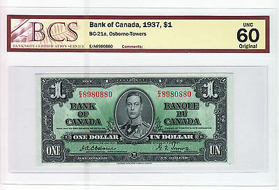 ✪ 1937 Bank of Canada - $1 Osborne Towers Bank Note - BCS UNC 60