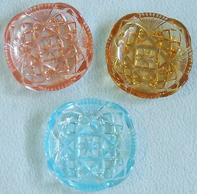 VINTAGE 3 x Rainbow Colourful Pressed GLASS Small Dishes - Each 7.8  x 7.8 cms