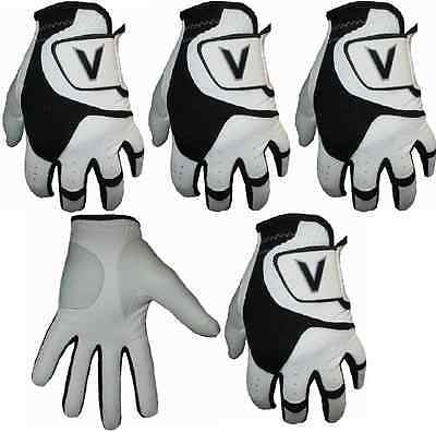 5 Men's Black&White All Weather Golf Gloves Leather Palm Patch VLogo 2016 Design