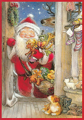 New double Christmas card by Lisi Martin, Santa, puppy, gifts