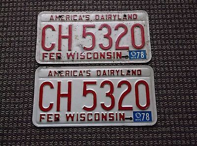 1978  Wisconsin  License Plate Pair