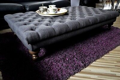 Handmade Chesterfield Deep Buttoned Large Footstool / Coffee Table 117cm x 61cm