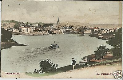 View of Enniskillen harbour, Co Fermanagh, on colour postcard posted in 1904