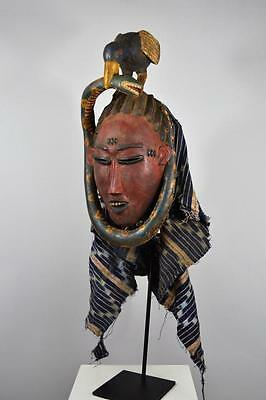 Exquisite African Art -  Beautiful Authentic Guro Zaouli Mask 0841