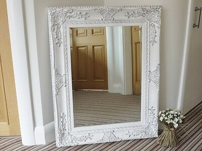FRENCH BAROQUE ANTIQUE WHITE (Distressed) WALL MIRROR - 92 x 75 cm (37 x 30 ins)