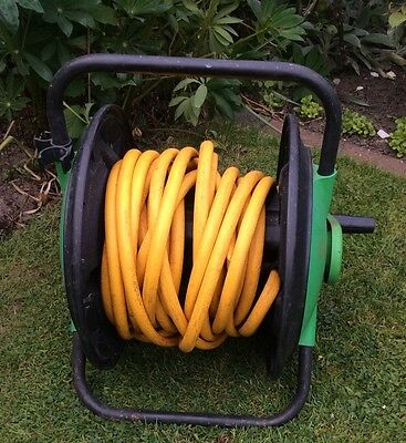50Ft Hose Pipe Reel Holder Trolley Cart Garden Water Portable Free Standing Hose
