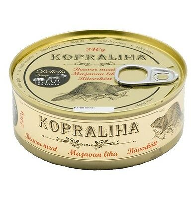 BEAVER MEAT - delicacy from Estonia - canned Beaver Meat, 240g