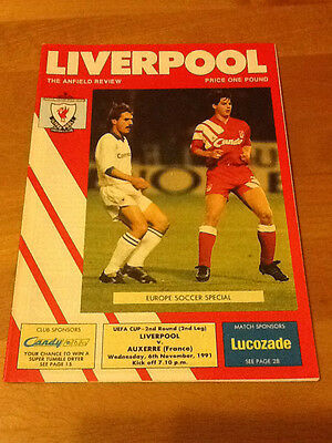 Liverpool V Auxerre 6/11/1991 Uefa Cup