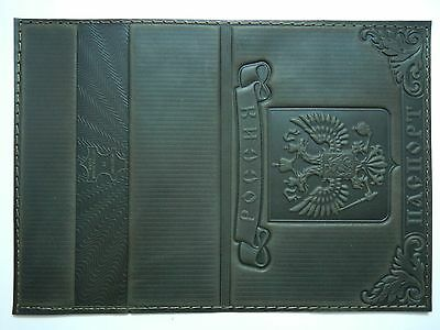 Russian Genuine Leather Passport Holder Handcrafted ID Document Cover DarkGray 1