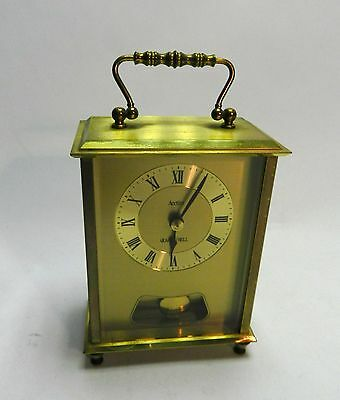 Brass Acctim Carriage Mantel clock with Bell and Pendulum Quartz Working
