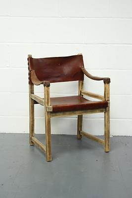 Vintage Leather Safari Dining Chair #1665