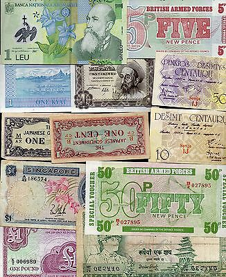 Twelve Mixed Condition World Banknotes (100Bm)