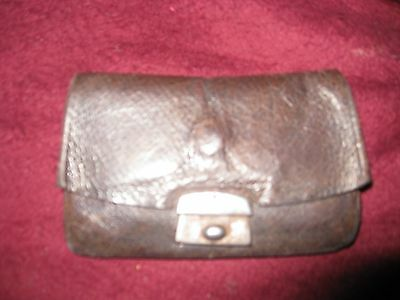 Small vintage leather purse/wallet, dark brown, good condition, Edwardian