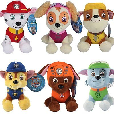 """12CM 4.7"""" PAW PATROL COMPLETE SET of 6 Cute Dogs plush Doll Dog Toy Chase Zuma"""