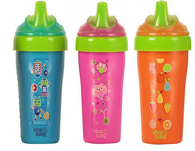 Vital Baby Toddler Straw Deco Cup - Blue/Orange/Pink FREE UK DELIVERY!