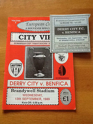 Derry City V Benfica 13/9/1989 European Cup With Match Ticket
