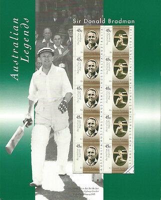 Australia 1997 Australian Legends Sir Donald Bradman. Sheetlet.