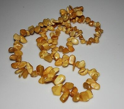Genuine Natural Baltic Amber Long Antique Butterscotch Color Beads