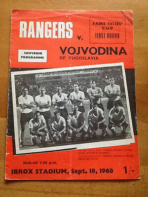 Rangers v Vojvodina Fairs Cup 18/09/1968