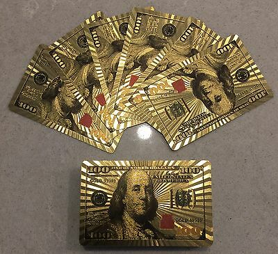 Playing Card 24 K Gold Plated American US USA $ 100 Dollar Note Design Gift