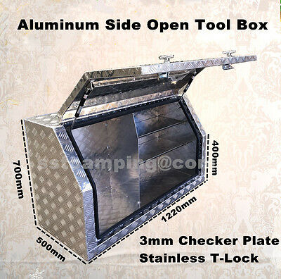 New Style ALUMINIUM shelves Side Opening UTES TRUCK TOOLBOX 3mm CHECKER PLATE